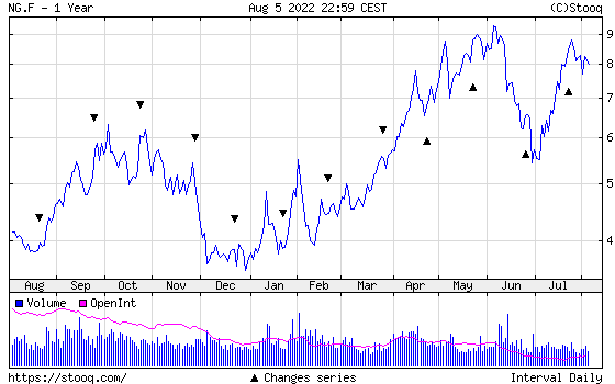 NATURAL GAS 1 year historical graph