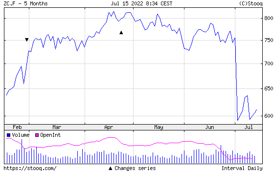 Kukorica Fél éves árfolyamdiagram